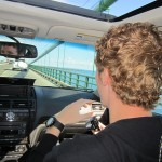 In de auto op Mackinac Bridge